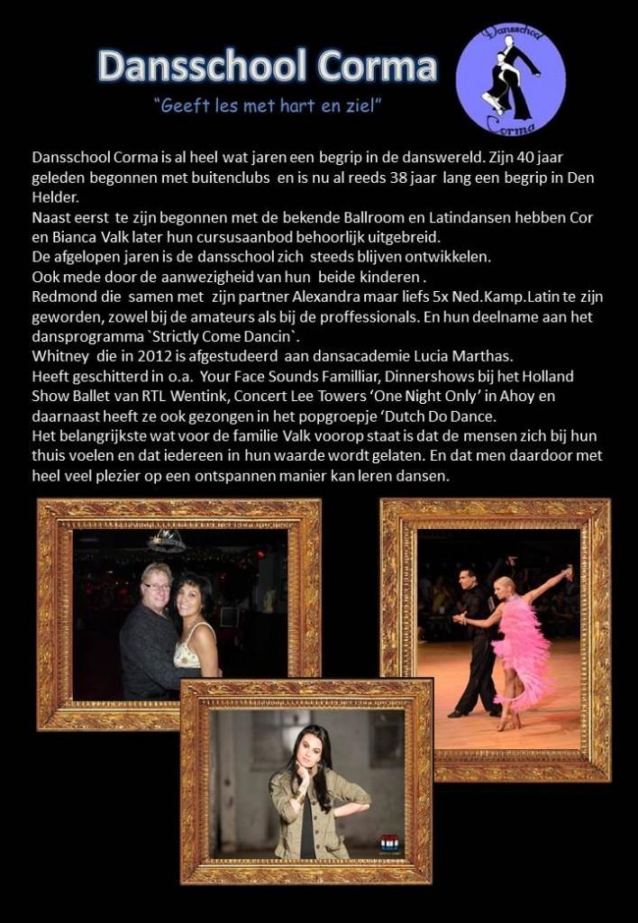 Redactioneel Dansschool Corma voor folder